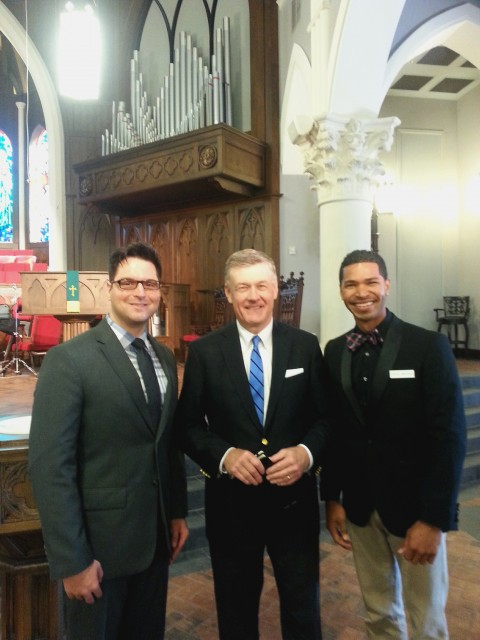 "Dr. Steven Lawson, a Bible teacher known for his exposition of ""hard truths"" of Scripture, visits St. Andrew's Chapel in Sanford, Florida, on Sunday, Nov. 16, 2014. Left to right: Peter Benyola, Steven Lawson, Steven Montalvo. Photo by Guy Rizzo."
