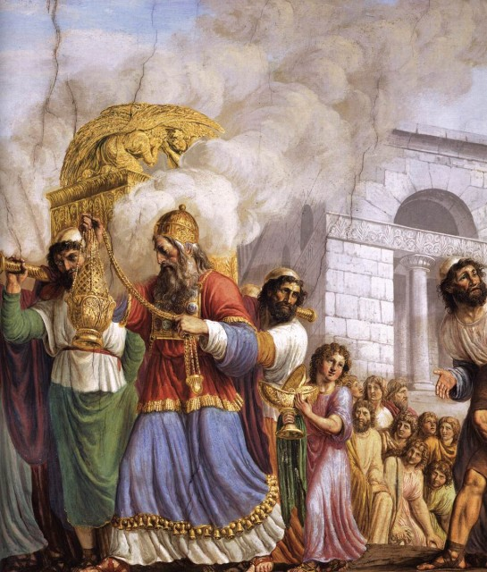 This scene is a detail of the fresco cycle in the Room of the Ark. Billowing clouds of aromatic incense surround the Ark of the Covenant, which is being carried in a solemn procession into the city of Jerusalem. The high priest of the Temple leads the pageant with the tabernacle containing the sacred Tablets of the Law. Painting by Luigi Ademollo in 1816, located in the Galleria Palatina of Palazza Pitti, in Florence, Italy.