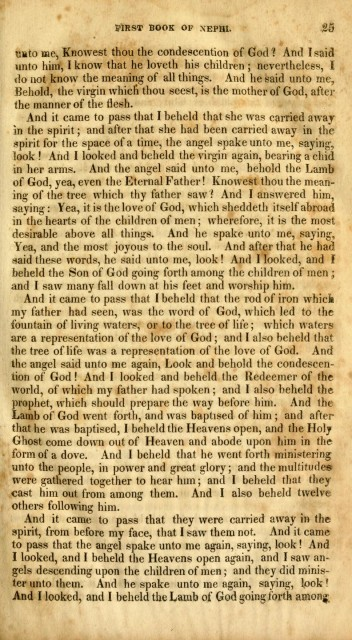 "This scan of the 1830 edition of the Book of Mormon, printed by E.B. Grandin in Palmyra, New York, shows that there were no chapter or page divisions in the initial printing. We can see here that the earliest version renders I Nephi 11:18 as ""Behold, the virgin which thou seest, is the mother of God, after the manner of the flesh."" Image: Open Library"