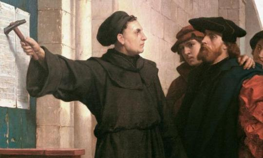 This 1872 Painting by Ferdinand Pauwels depicts Dr. Martin Luther nailing his Ninety-Five Theses to the door of All Saints' Church in Wittenberg, Germany, Oct. 31, 1517, inviting disputation to the Roman Catholic program of indulgences and other practices.