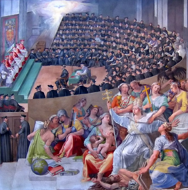 The Council of Trent was so named because it was celebrated in Santa Maria Maggiore church, Trento (Trent). This painting by Pasquale Cati in 1588 is displayed in the Santa Maria in Trastvere, Rome.