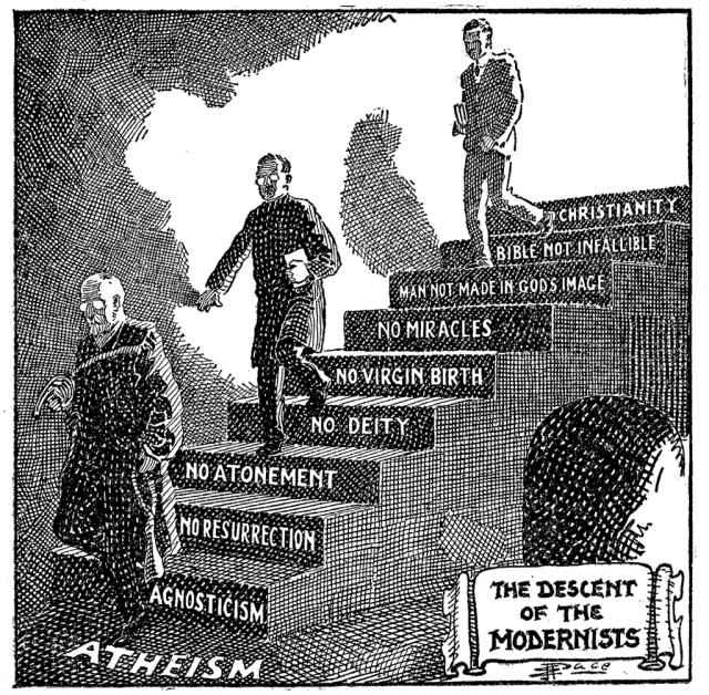 "A Fundamentalist cartoon portraying Modernism as the descent from Christianity to atheism, first published in 1922 and then used in ""Seven Questions in Dispute"" by William Jennings Bryan."