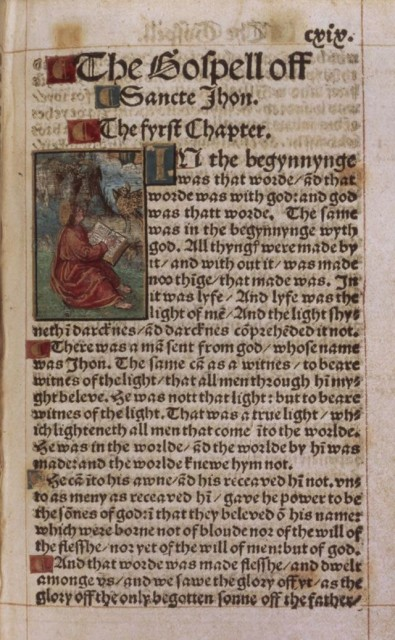 The beginning of the Gospel of John from a copy of the 1526 edition of William Tyndale's New Testament at the British Library. image: British Library Board