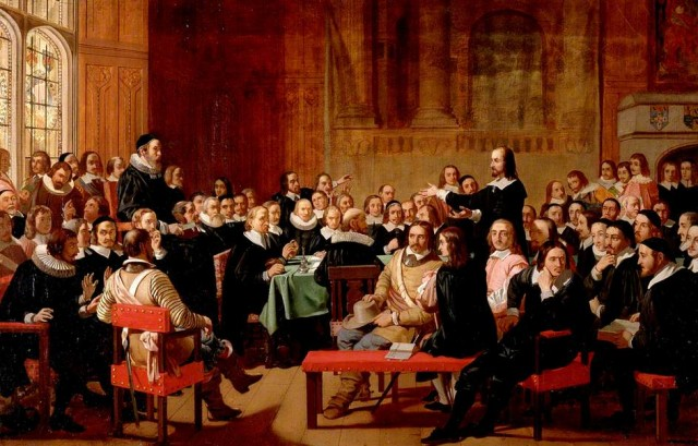 """Assertion of Liberty of Conscience by the Independents of the Westminster Assembly of Divines, 1644"" by John Rogers Herbert, the Royal Academy of Arts, 1844."