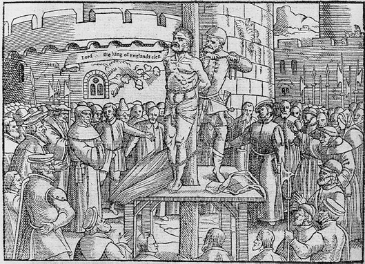 "This woodcut from Foxe's ""Book of Martyrs,"" 1563, depicts the execution of William Tyndale on Aug. 12, 1536."