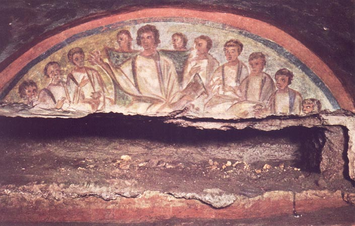 Christ teaching the Apostles, a fresco about 15 inches high and 51 inches wide, Catacombs of Domitilla, circa A.D. 300.