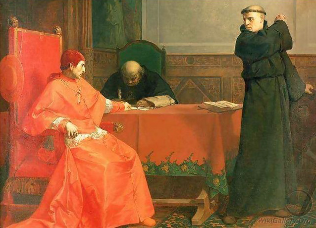 Luther in front of Cardinal Cajetan during the controversy of his 95 Theses, Ferdinand Wilhelm Pauwels, 1870