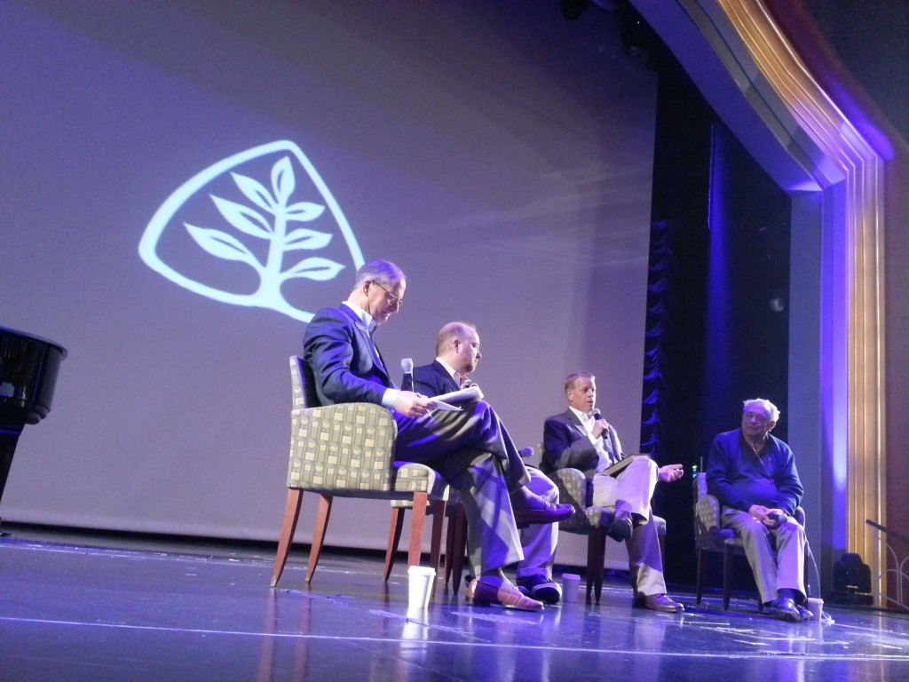 "Dr. Stephen Nichols qualifies the answer to a question by explaining what the term ""Reformed"" has connoted over several centuries, during a Q&A session on Saturday, Feb, 28, 2015. Left to right: Lee Webb, R.C. Sproul Jr., Stephen Nichols, R.C. Sproul"