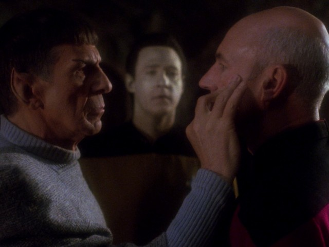 "Ambassador Spock performs a mind meld on Captain Jean-Luc Picard on stardate 45245.8 (ST:TNG ""Unification, Part II""). image: startrek.com"